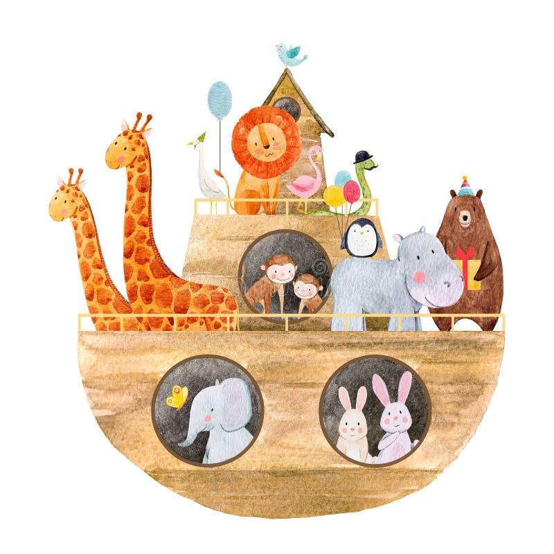 Watercolor baby Noah s Ark. Beautiful baby illustration with watercolor noah`s ark with cute animals royalty free illustration
