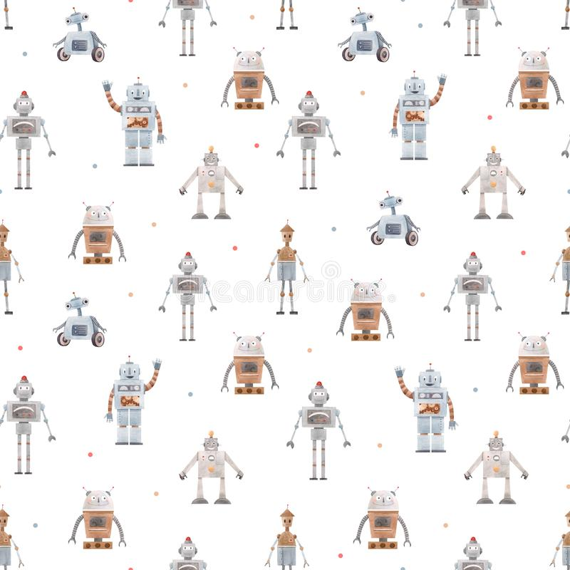 Watercolor baby pattern with robots. Beautiful seamless baby pattern with cute retro robots stock illustration