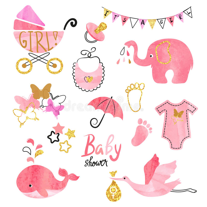 Watercolor Baby Shower girl set. vector illustration