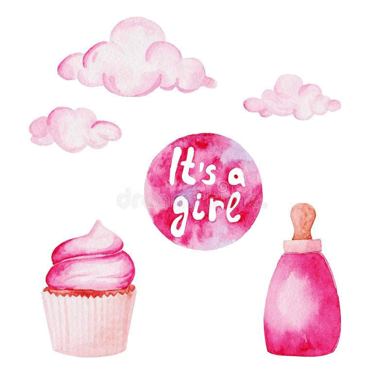 Watercolor baby shower set. Its a girl theme with baby bottle and cupcake. For design, print or background royalty free illustration