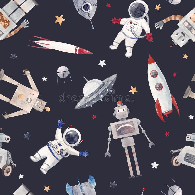 Watercolor baby space pattern. Beautiful seamless baby pattern with cute retro robots astronaut spaceman spaceship rocket stock illustration