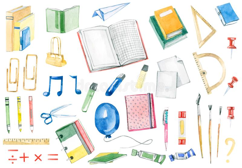Watercolor Back to school set - notebooks, pens, pencils, scissors, rules, markers, office supplies. Education elements on isolated white background stock illustration
