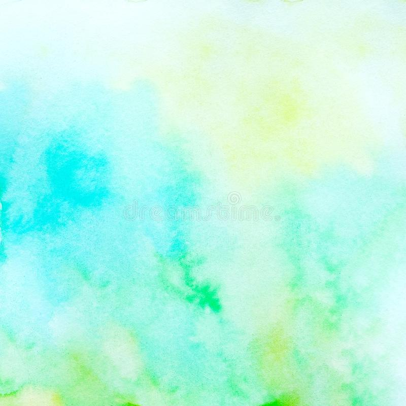Watercolor background, art abstract green watercolor painting textured design on white paper background stock image