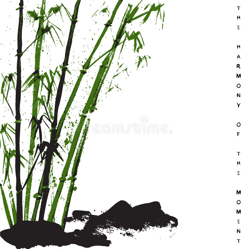 Watercolor background with bamboo and stones. Stock vector. stock illustration