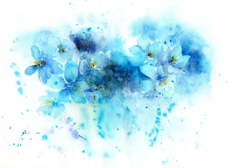 Watercolor background of blue flowers royalty free illustration