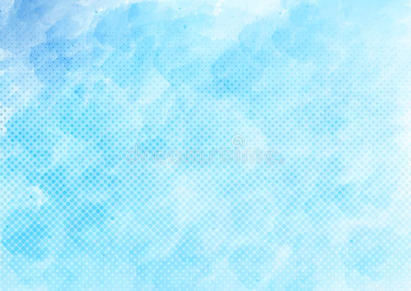 Vector Blue Watercolor and Halftone Dots Pattern Background. Abstract blue watercolor and halftone dots texture for comic background, banner, backdrop, brochure royalty free illustration