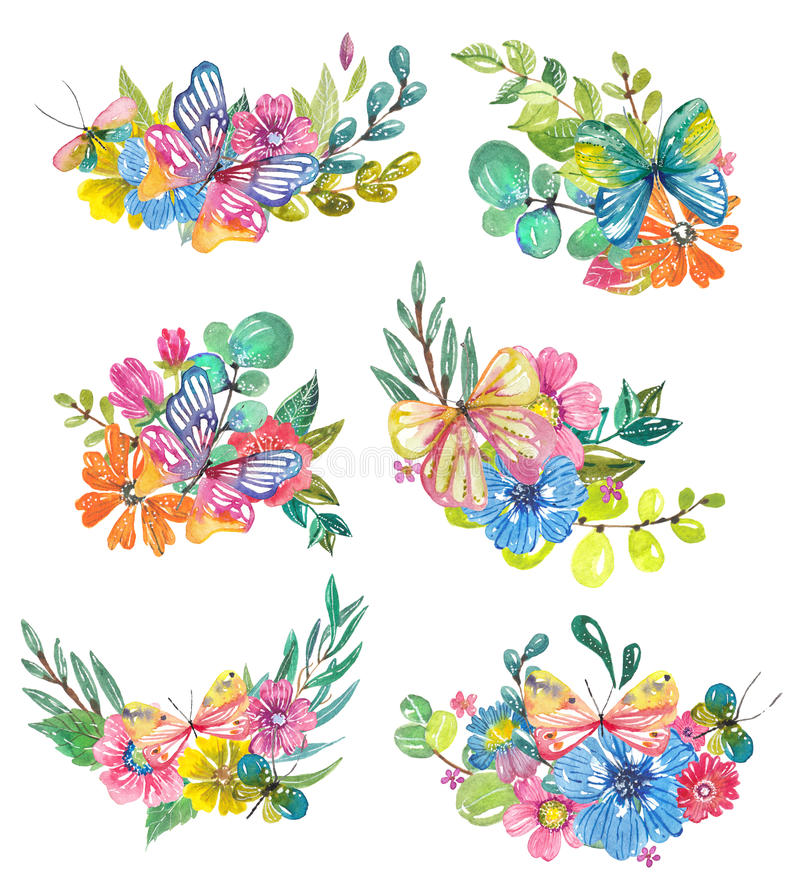 Watercolor background with butterflies and bubbles stock illustration