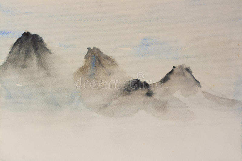 Watercolor background in classic chinese style mountains stock illustration