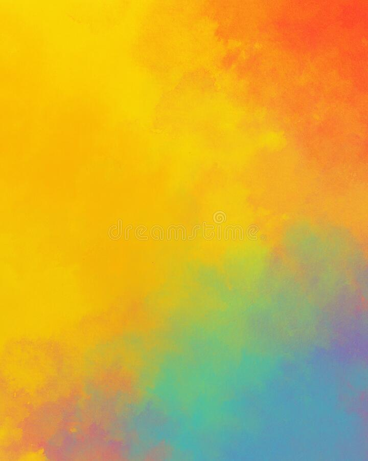 Watercolor background in colorful yellow blue red and orange colors, rainbow color background design with bright abstract color sp royalty free stock photos