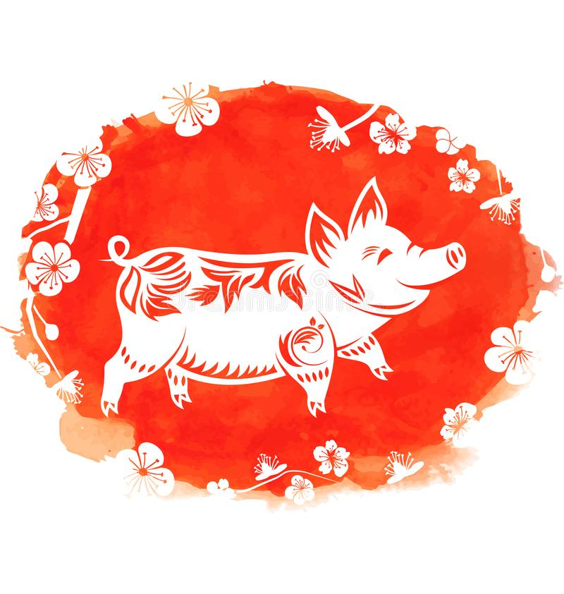 Watercolor Background with Floral Pig, Zodiac Symbol of 2019 Year, Blossom Sakura Flowers vector illustration