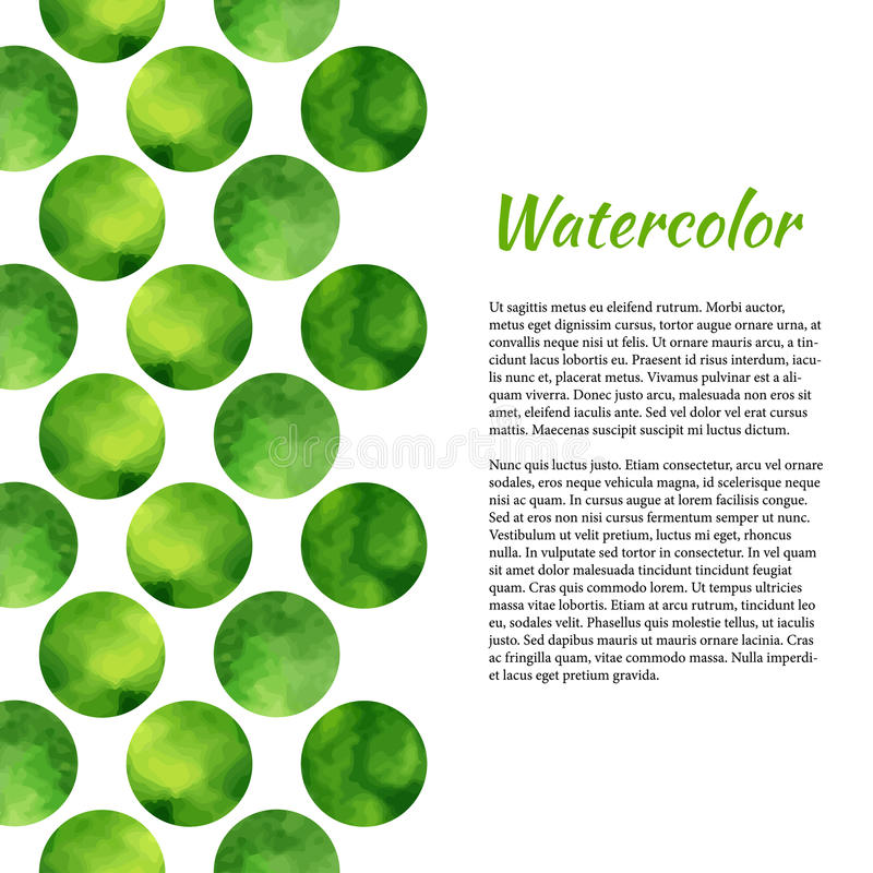 Watercolor background with green circles. Abstract background. Vector watercolor for brochure, banner, poster or web design. stock illustration