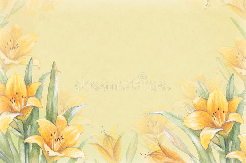 Watercolor background with illustration of lily flower
