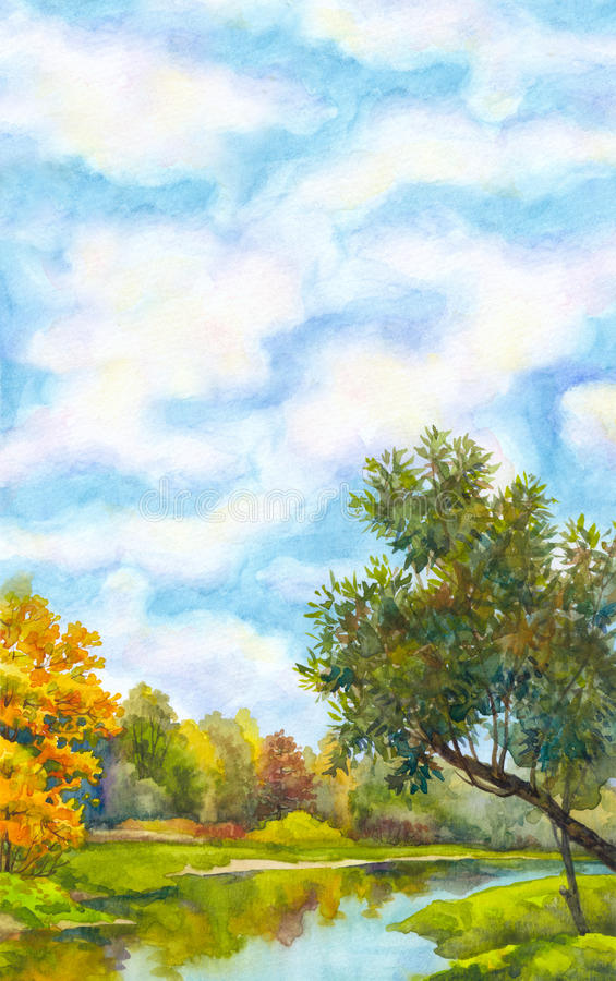 Watercolor background with landscape of sunny autumn day vector illustration