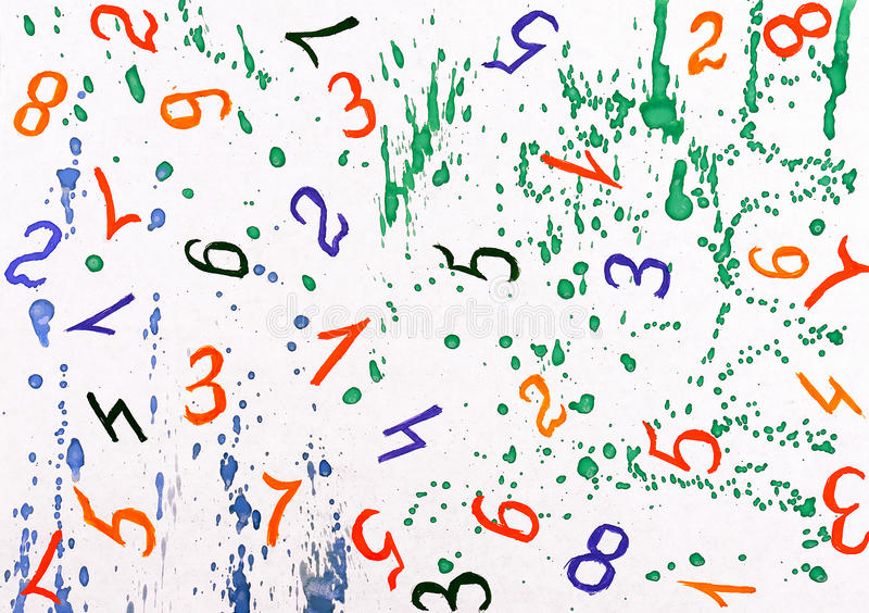 Download Watercolor Background With Numbers Stock Illustration - Image: 21089811
