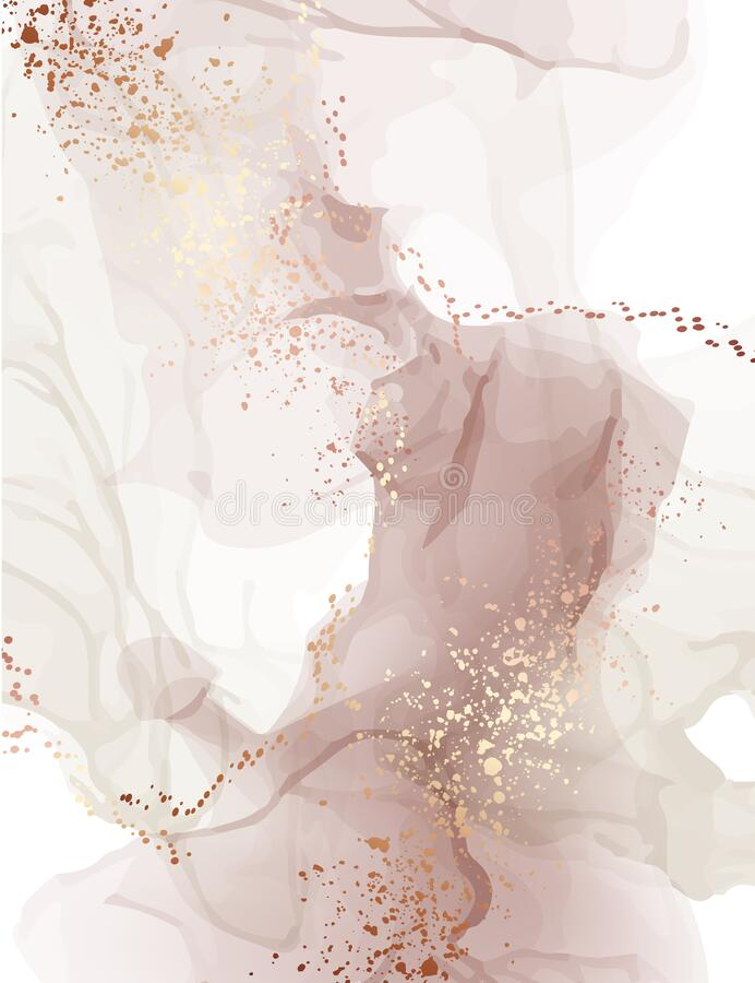 Free Watercolor Background Pastel Color Water Splash Texture With Gold Foil Paint. Abstract Dusty Pink Paper Pattern. Stain Resin Art Stock Images - 189210574
