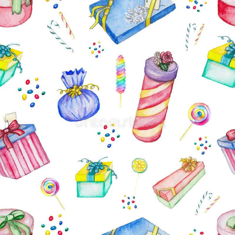 Watercolor background pattern with presents. Watercolor seamless background pattern with presents and candies vector illustration