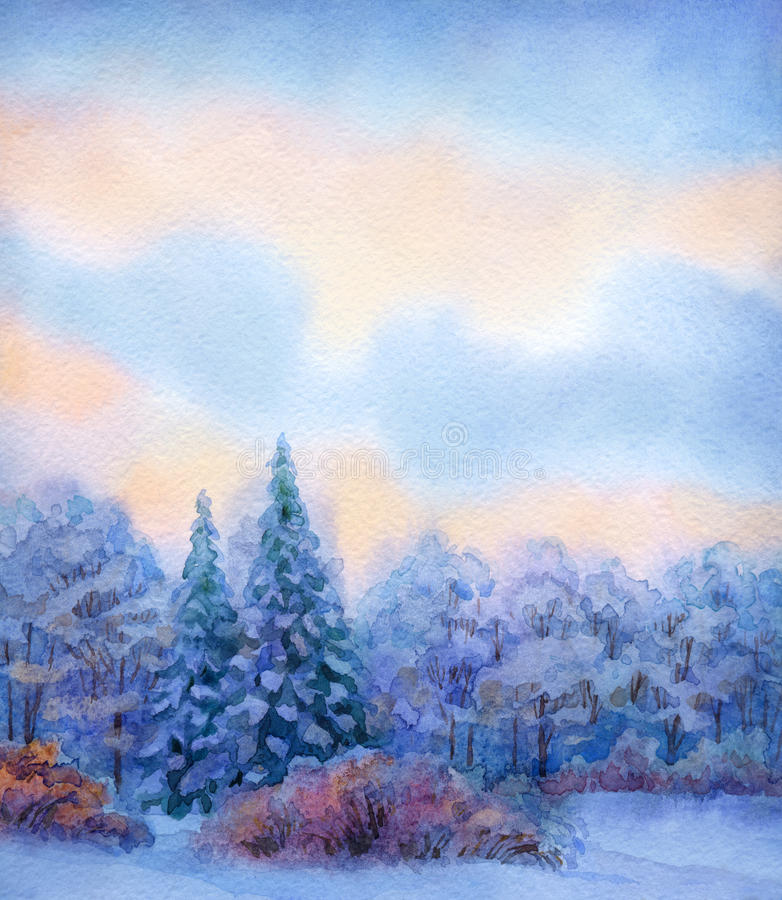 Watercolor background with quiet sunset over winter forest. Beautiful handwork watercolor backdrop with space for text. Quiet winter sunset. Lush high blue vector illustration
