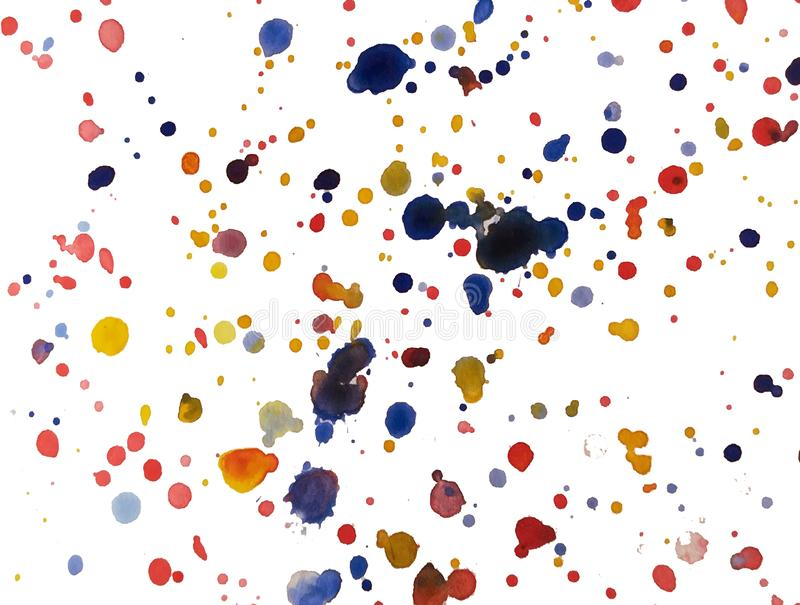 Watercolor background with red and orange and blue blots. Bright handcrafted wash drawing backdrop for design apparel, surfaces, royalty free illustration