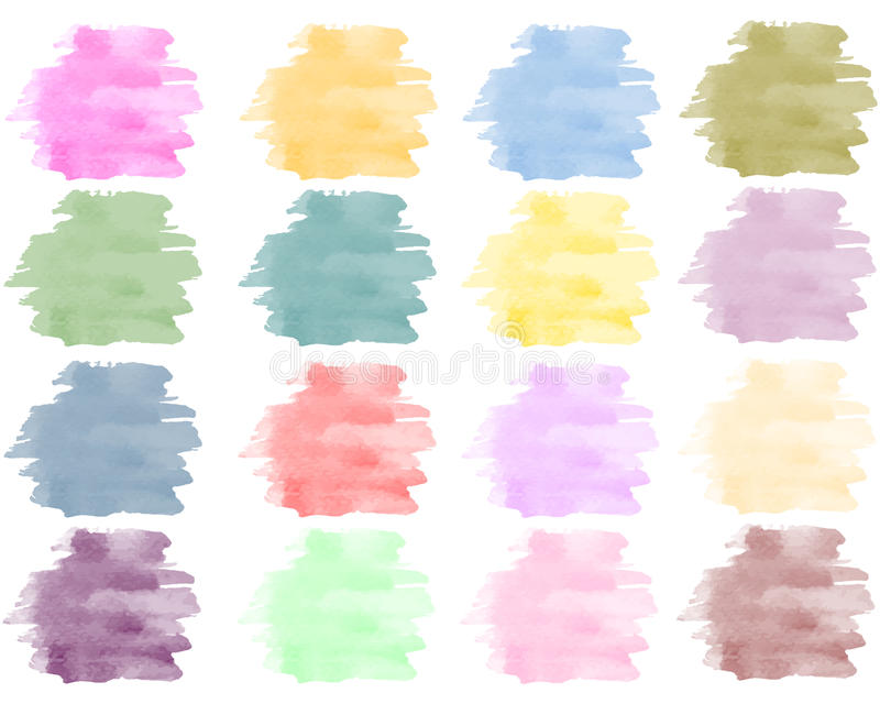 Watercolor background set in bright colors royalty free illustration