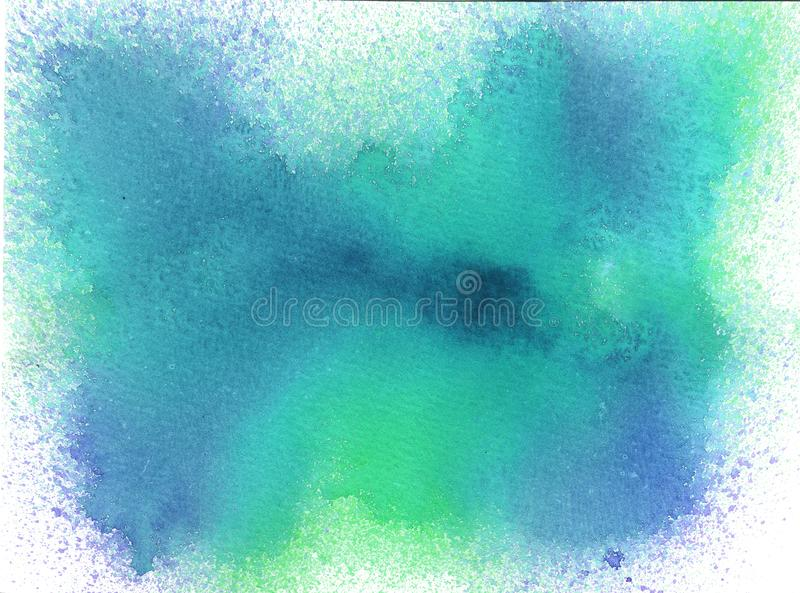 Watercolor background with splash of blue. And miht colors. Bright stock images