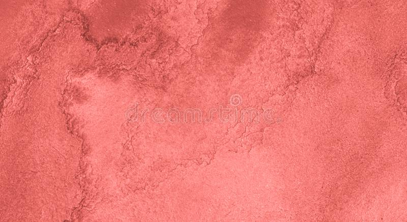 Watercolor background of trendy colors of Living Coral with with bizarre natural divorces and stripes. Abstract  frame. With copy space for text royalty free illustration