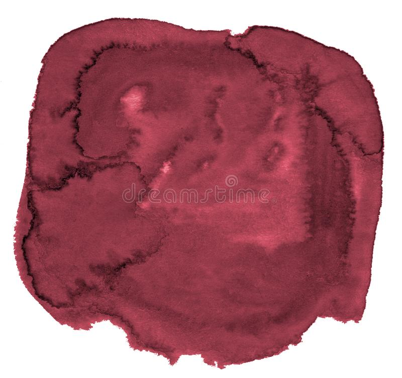 Watercolor background of trendy colors of Persian red with sharp borders and divorces. Watercolor brush stains. With copy space stock photography