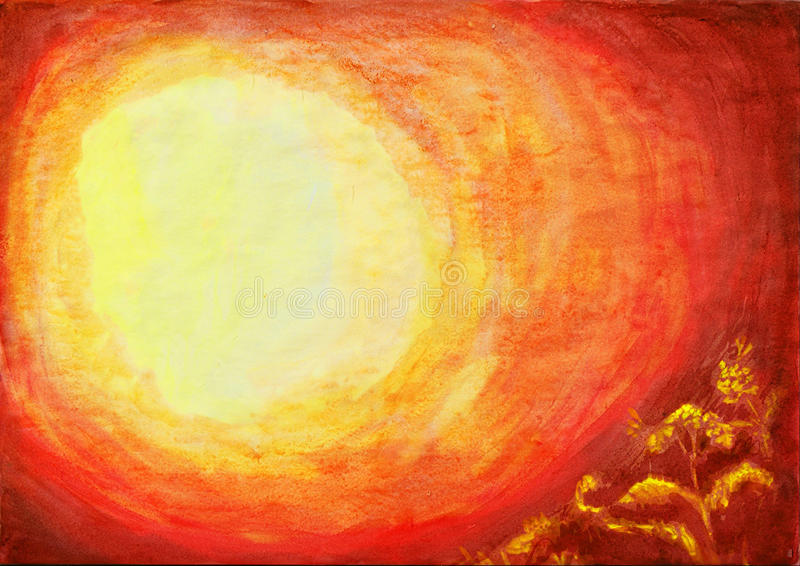 Watercolor background from yellow round to dark red corner with stock image