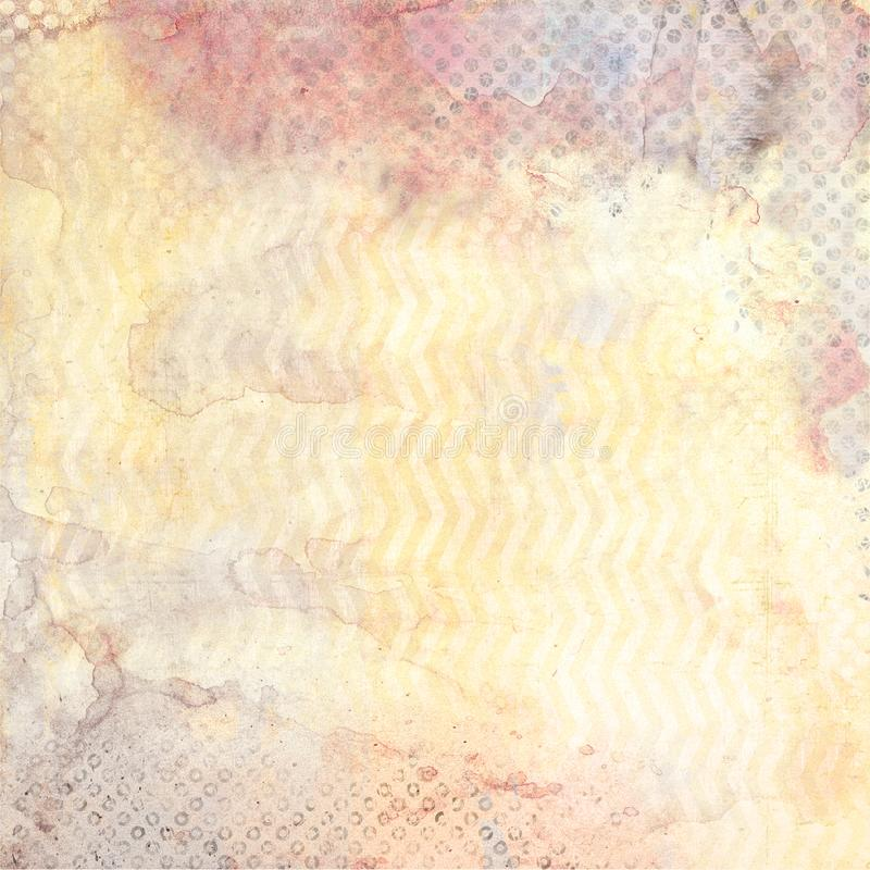 Watercolor background with zig-zag and black polka dot patterns stock illustration