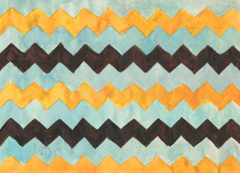 Watercolor background with zigzag stripes royalty free stock image