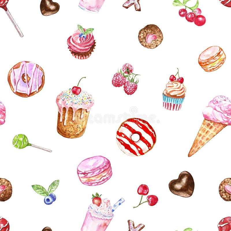 Watercolour tasty desserts seamless pattern in pastel colors. hand painted sweets and treats on white background stock illustration