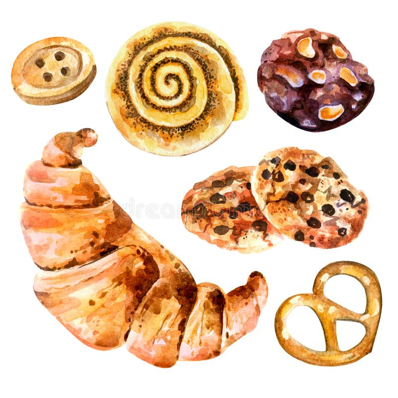 Watercolor baking. Croissant, cookies, bun with poppy seeds, pretzel, chocolate biscuits. vector illustration