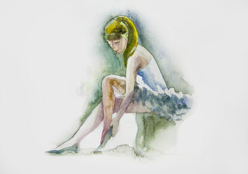 Watercolor. Ballerina in blue fashion dress royalty free stock images