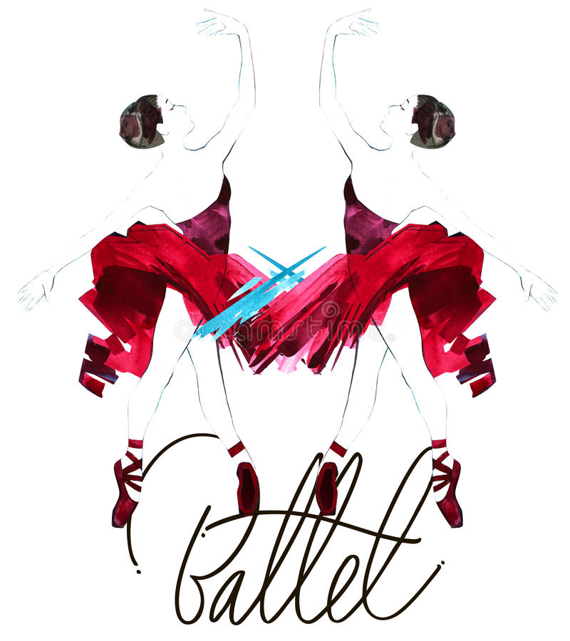 Download Watercolor Ballerina Hand Painted With Words Ballet. Dancer Illustration Stock Illustration - Image: 83704031