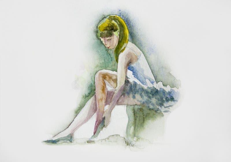 watercolor Ballerina in vestito blu da modo immagini stock libere da diritti