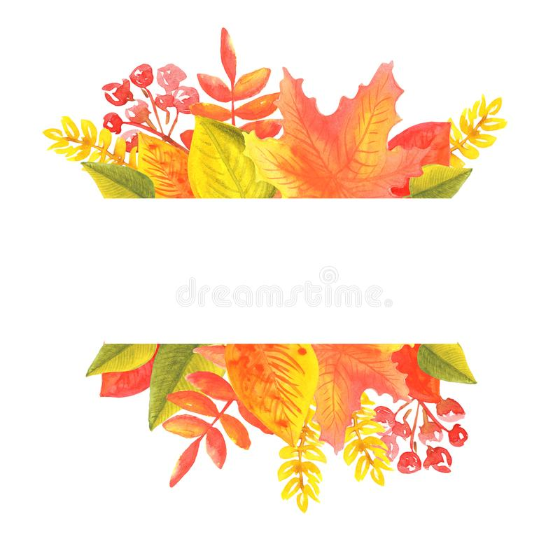 Watercolor banner of leaves and branches isolated on white background royalty free illustration