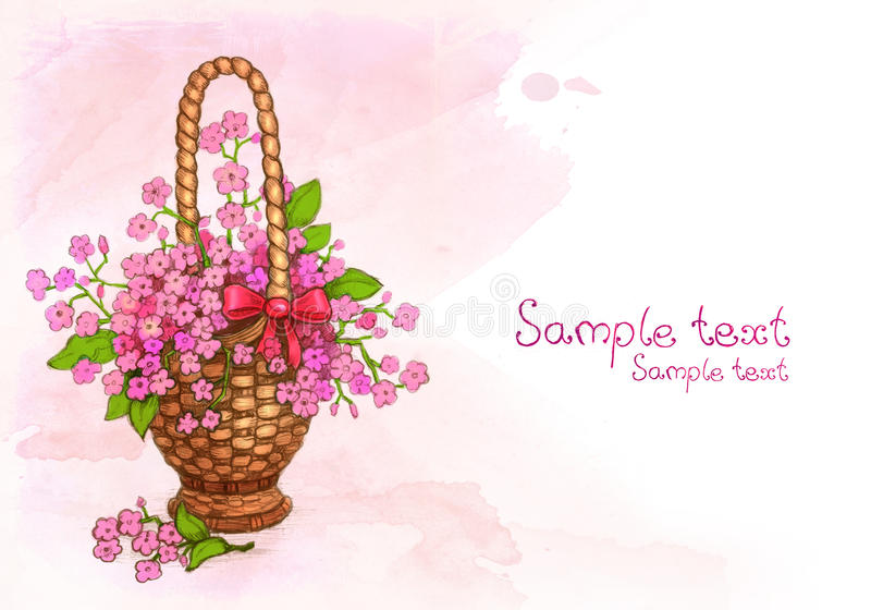 Download Watercolor Basket Of Flowers Stock Illustration - Image: 23413999