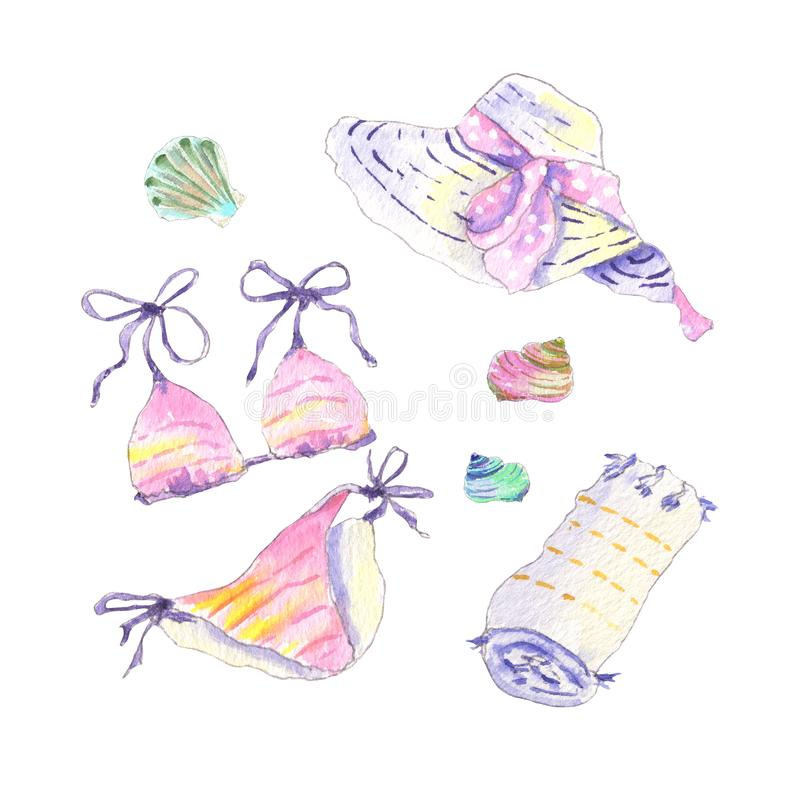 Watercolor beach accessories royalty free stock photo