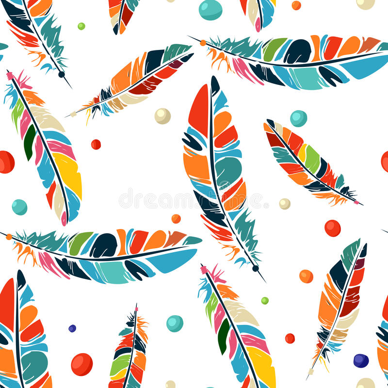 Watercolor beads and feathers pattern royalty free illustration