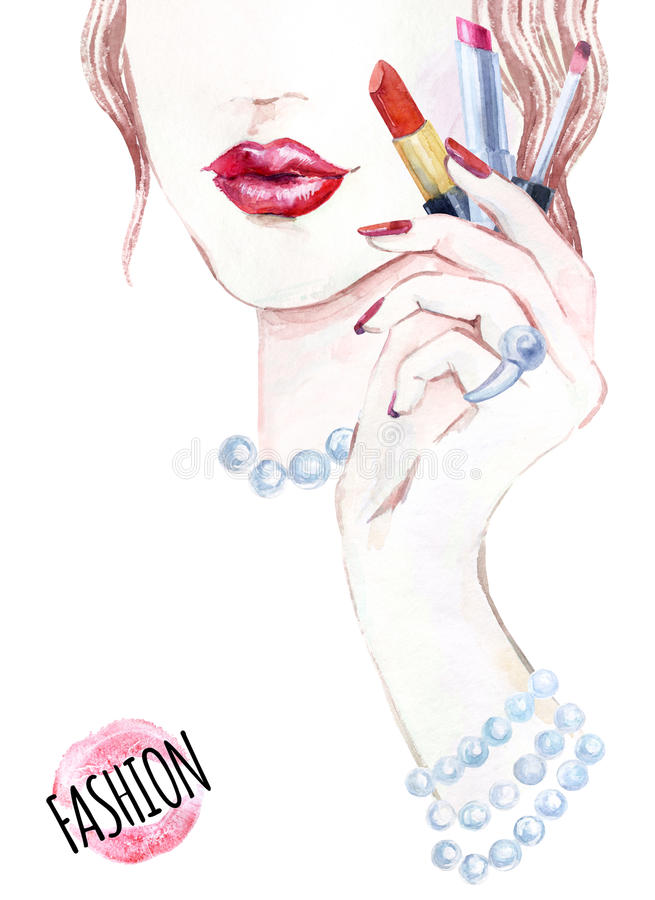 Watercolor beautiful face. woman portrait with lipstick. vector illustration