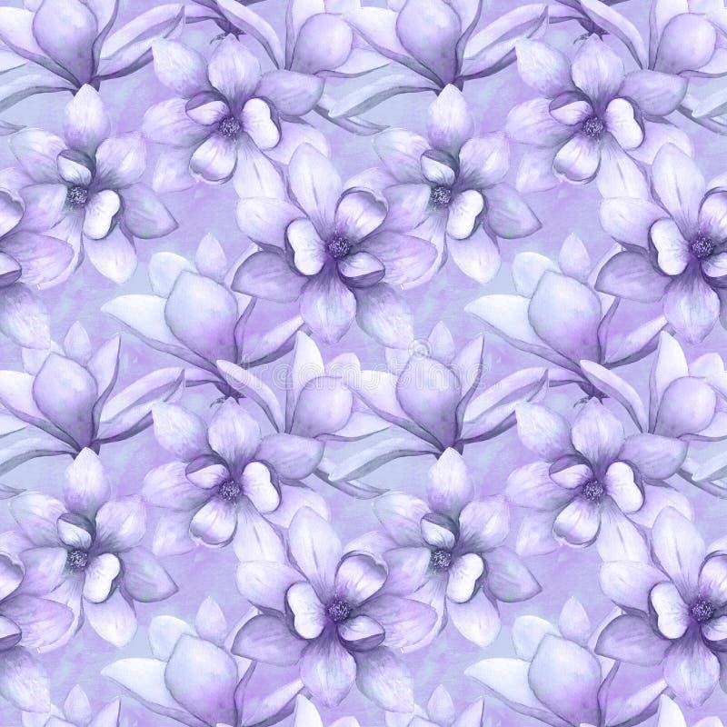 Watercolor beautiful magnolia flowers seamless pattern background. Watercolour spring elegant botanical illustration stock illustration