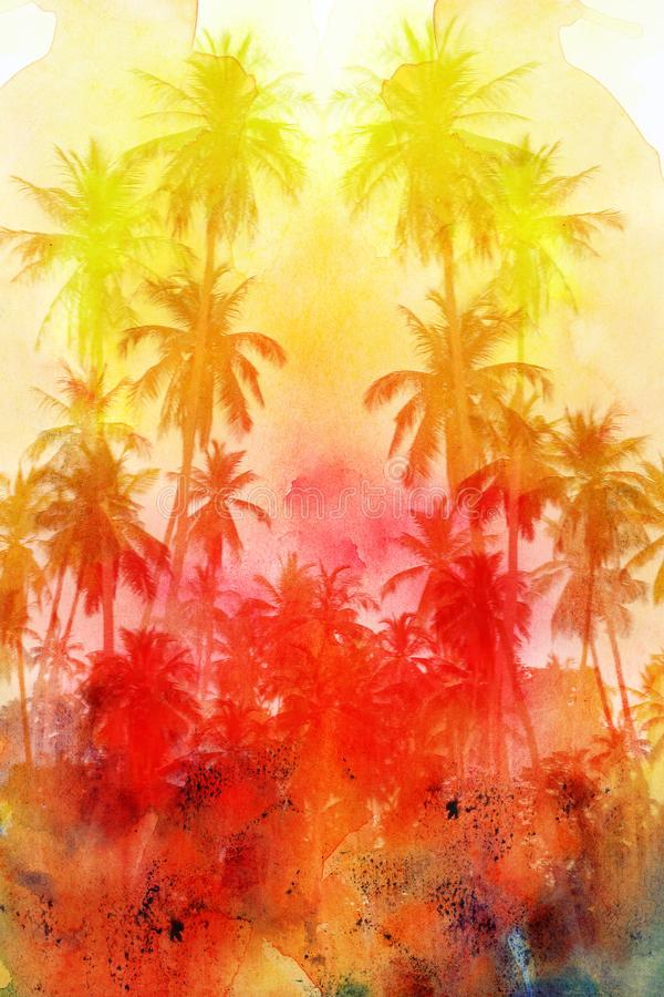 Watercolor beautiful retro tropics palm trees background. See different shades. Examples for an advertising poster or web page vector illustration
