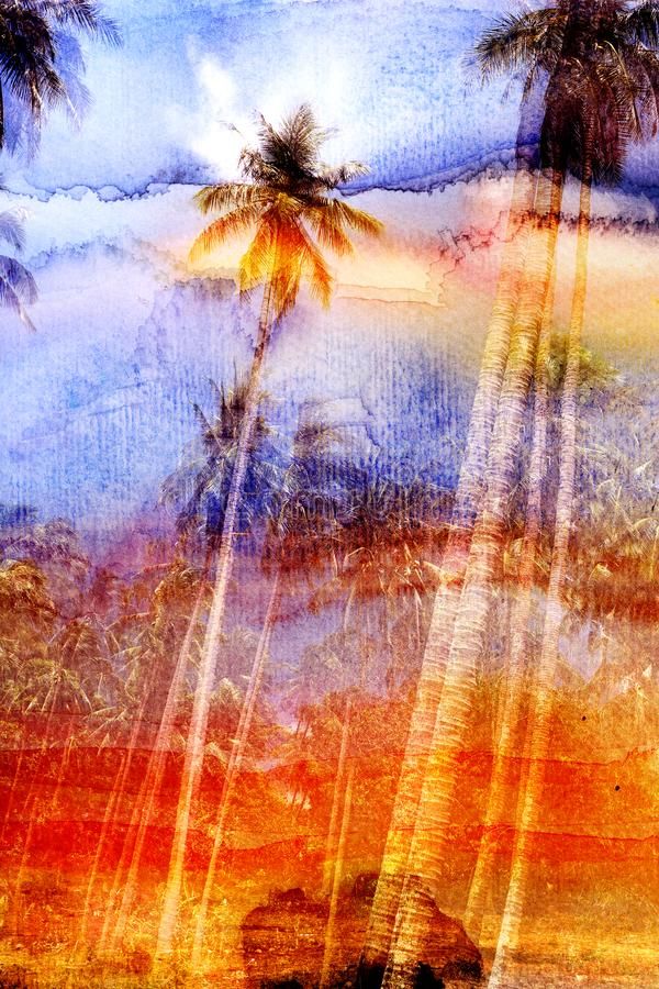 Watercolor beautiful retro tropics palm trees background. See different shades. Examples for an advertising poster or web page royalty free illustration