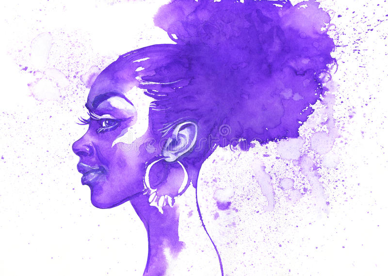 Watercolor beauty african woman. Hand drawn abstract fashion portrait with splash vector illustration