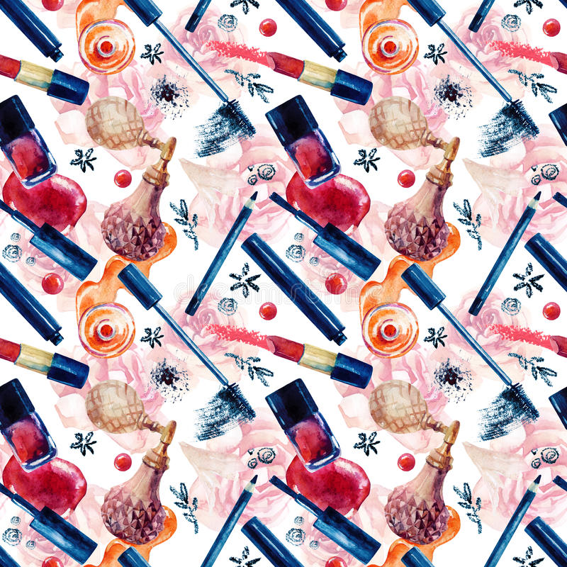 Watercolor beauty seamless pattern. Fashionable design. Watercolor beauty seamless pattern. Essential makeup must-haves painting. Beauty product background stock illustration