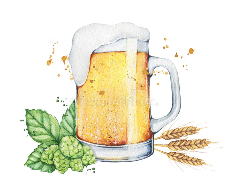 Watercolor beer glass and bottle royalty free illustration