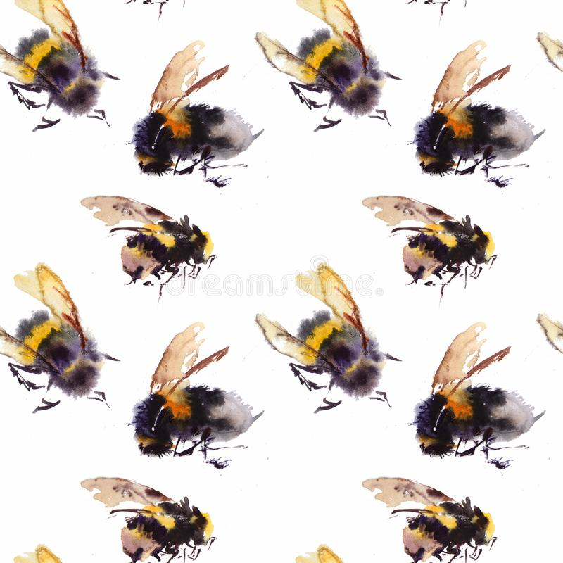 Watercolor bees seamless pattern isolated on white background. hand drawn watercolor illustration royalty free illustration