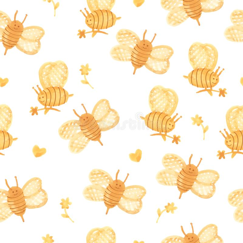 Watercolor bees on a white background. vector illustration