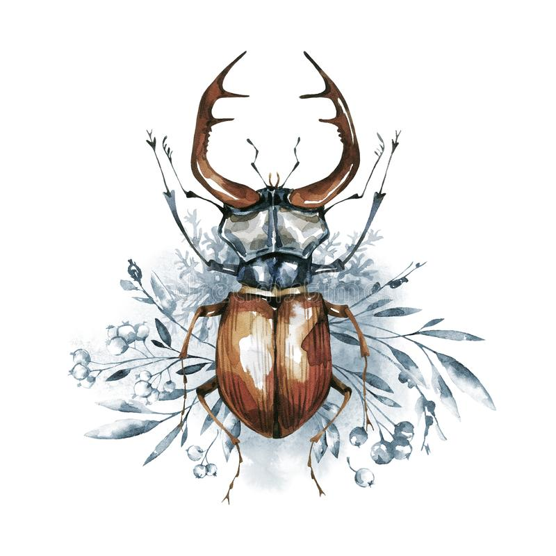 Watercolor beetle with horns on a floral background. Animal, insects. Magic flight. Can be printed on T-shirts, bags stock illustration