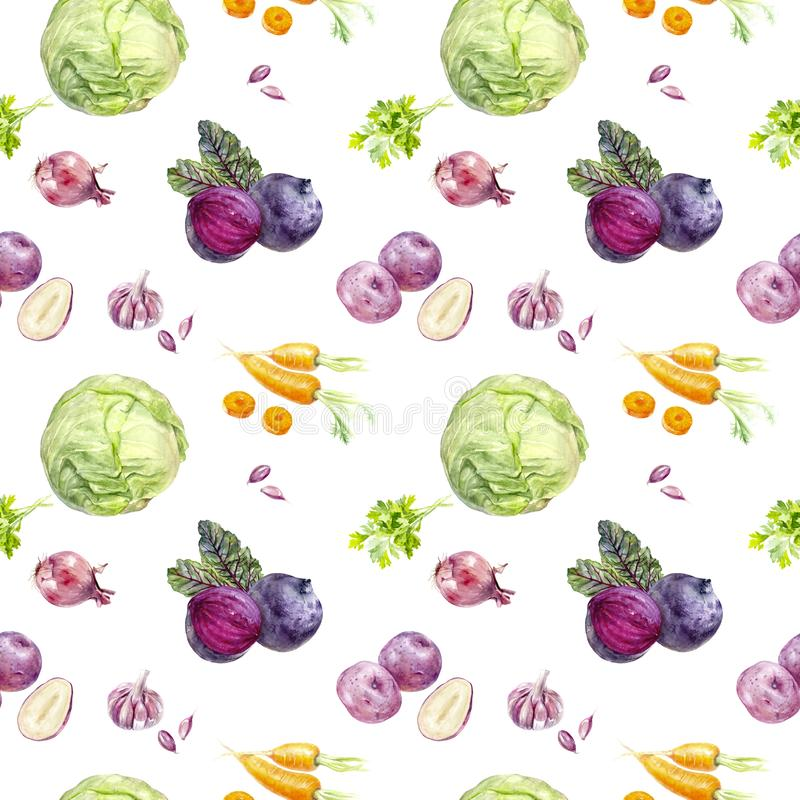Watercolor beetroot soup ingredients isolated seamless pattern. Watercolor beetroot soup ingredients. Hand drawn watercolor cabbage, garlic, beetroot, parsley royalty free illustration