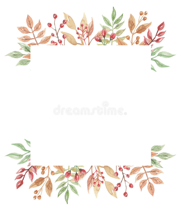Watercolor Berries Autumn Frame Wreath Leaf Fall vector illustration